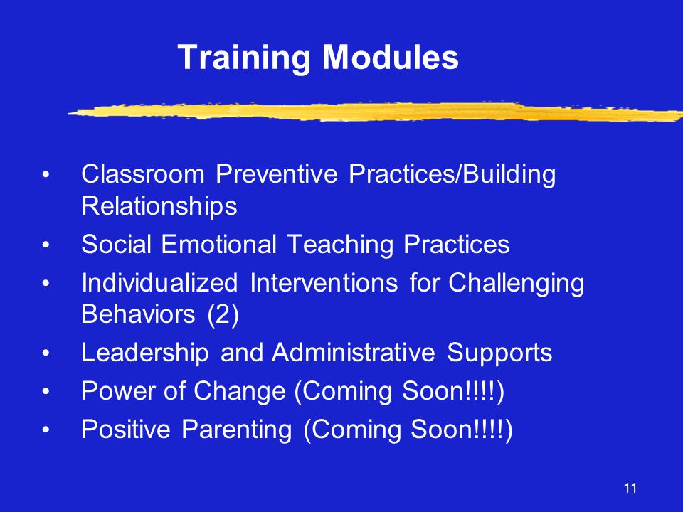 11 Training Modules • Classroom Preventive Practices/Building Relationships • Social Emotional Teaching Practices • Individualized Interventions for Challenging Behaviors (2) • Leadership and Administrative Supports • Power of Change (Coming Soon!!!!) • Positive Parenting (Coming Soon!!!!)