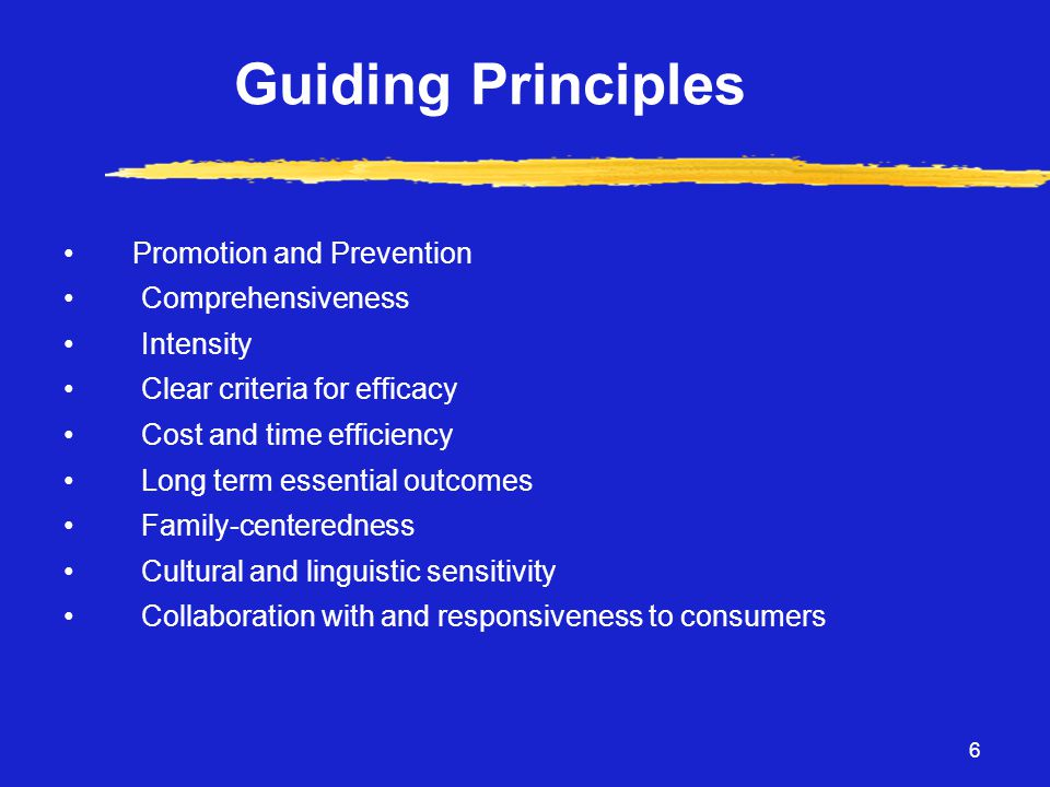 6 Guiding Principles • Promotion and Prevention • Comprehensiveness • Intensity • Clear criteria for efficacy • Cost and time efficiency • Long term essential outcomes • Family-centeredness • Cultural and linguistic sensitivity • Collaboration with and responsiveness to consumers
