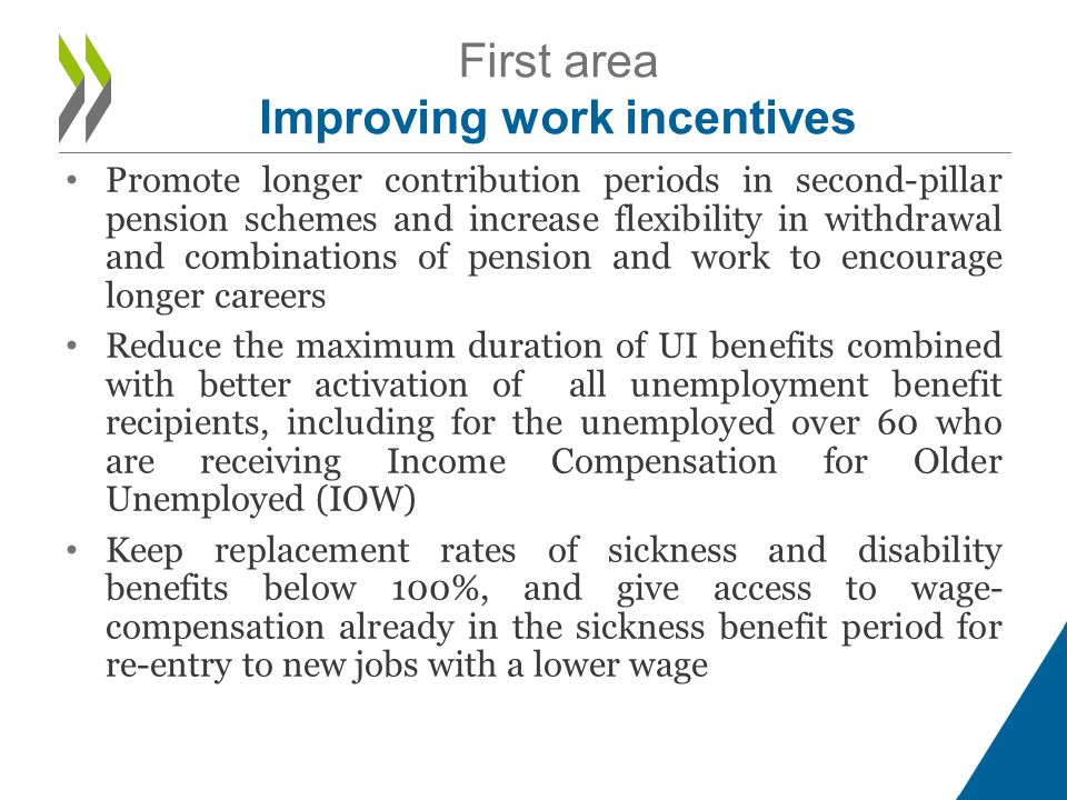 • Promote longer contribution periods in second-pillar pension schemes and increase flexibility in withdrawal and combinations of pension and work to encourage longer careers • Reduce the maximum duration of UI benefits combined with better activation of all unemployment benefit recipients, including for the unemployed over 60 who are receiving Income Compensation for Older Unemployed (IOW) • Keep replacement rates of sickness and disability benefits below 100%, and give access to wage- compensation already in the sickness benefit period for re-entry to new jobs with a lower wage First area Improving work incentives