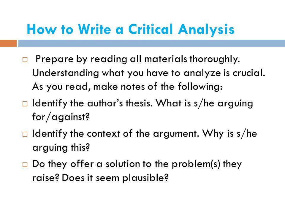 how to make a critical analysis