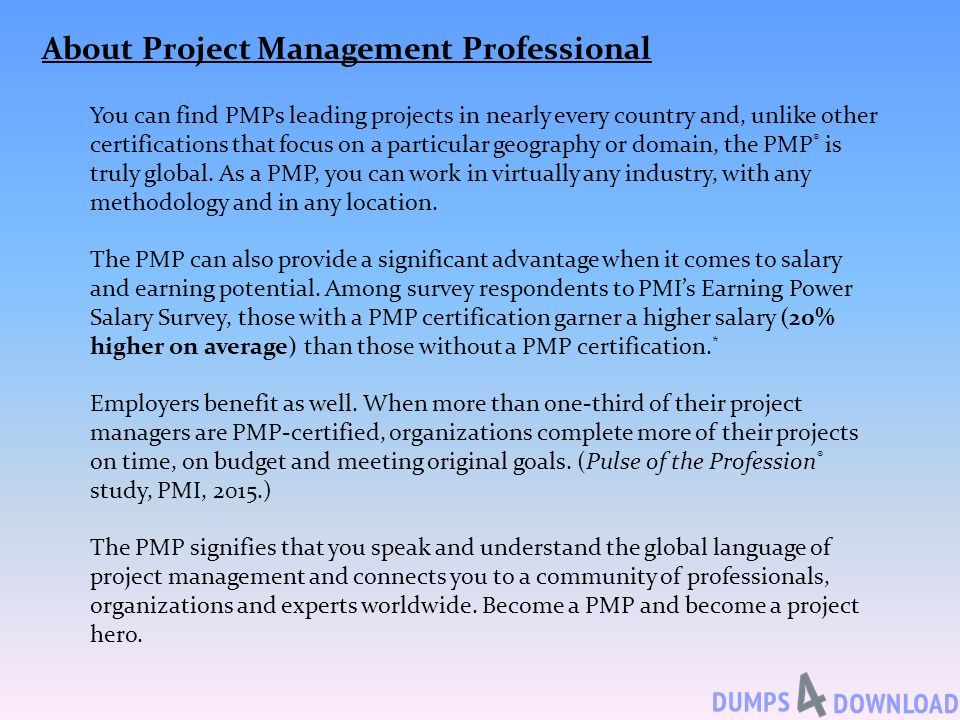 Project Management Professional Pmp Dumps Prepare Ppt Download