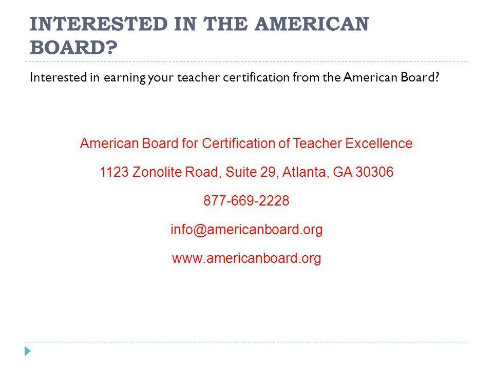American Board Teacher Certification Ppt Download