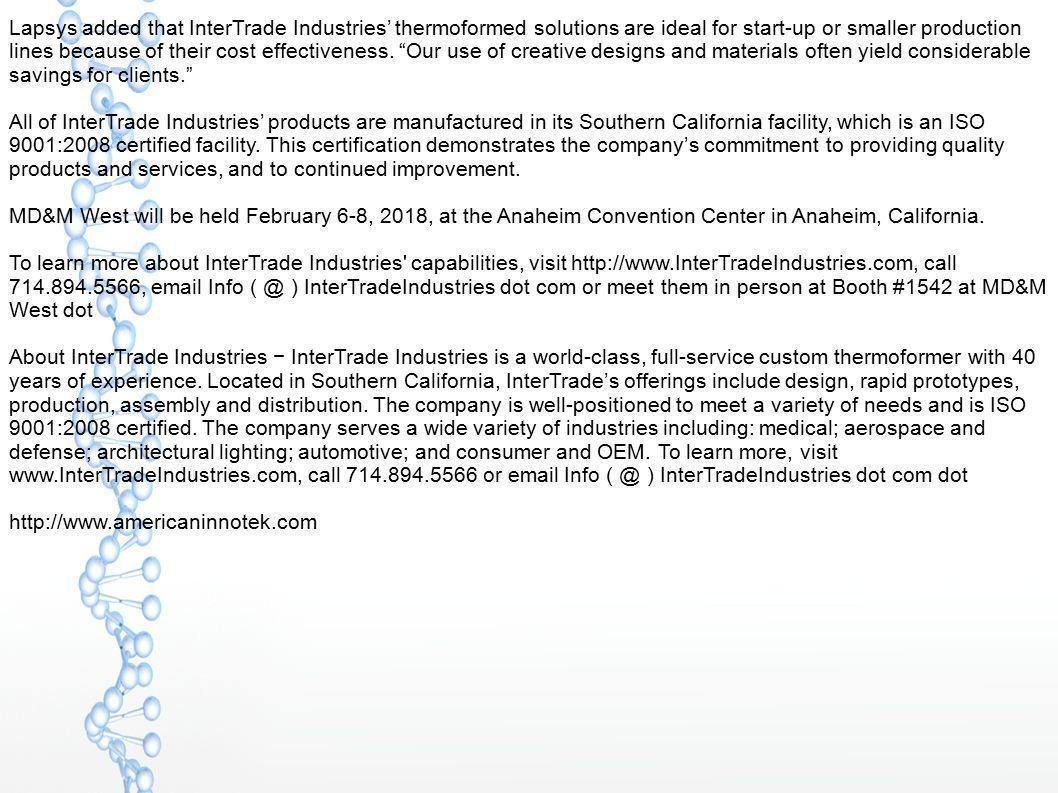 1888 Press Release - InterTrade Industries to Showcase Advanced