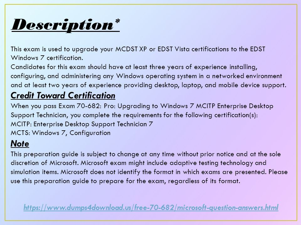 Exam Pro Uabcrading To Windows 7 Mcitp Enterprise Desktop Support