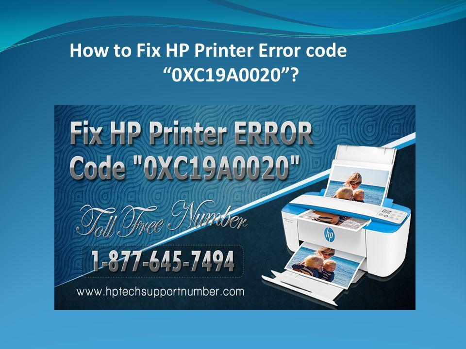 "How to Fix HP Printer Error code ""0XC19A0020""?  HP is a"