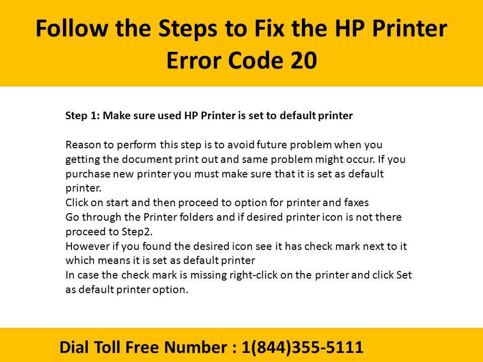 Dial 1(844) How to Fix the HP Printer Error Code 20 ? - ppt download
