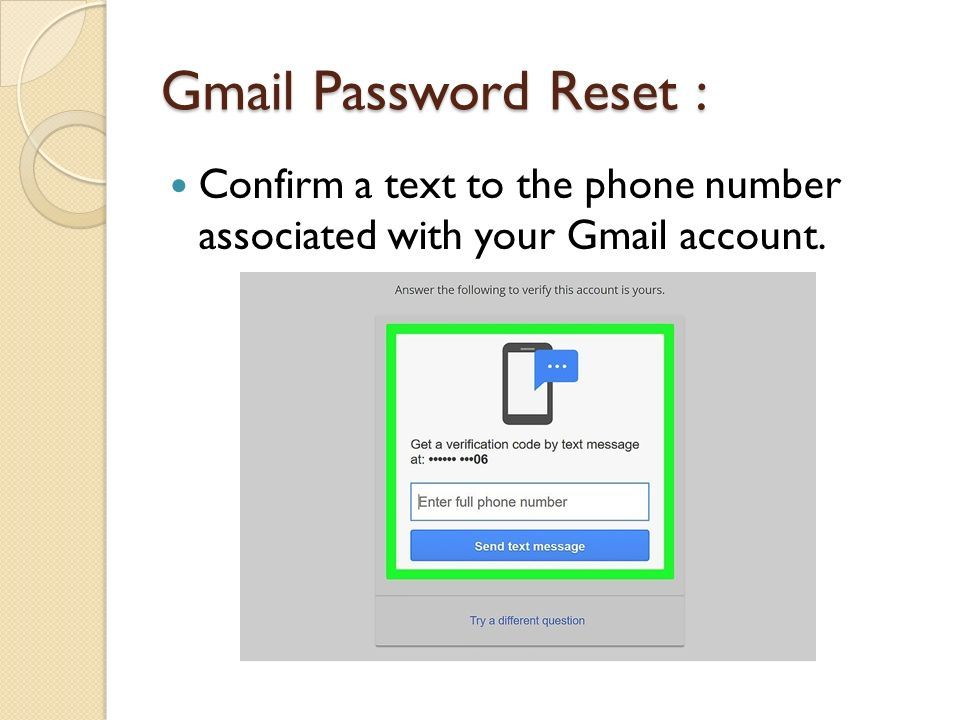 gmail password reset by phone number