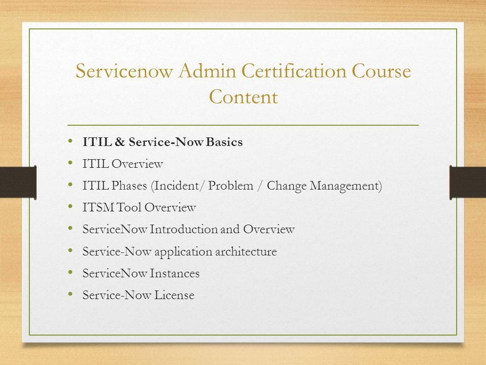 Servicenow Admin Certification Training Ppt Download