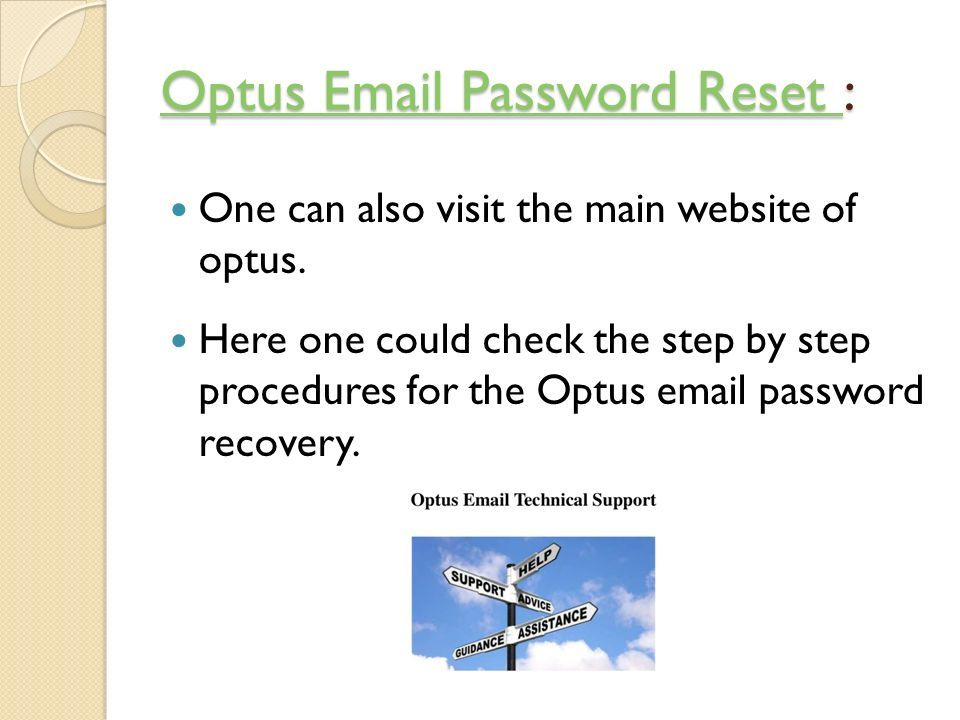 Optus email password reset