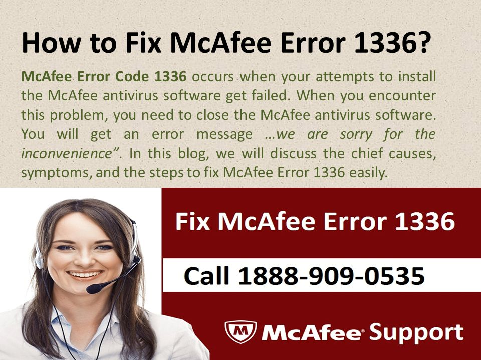 How to Fix McAfee Error 1336.