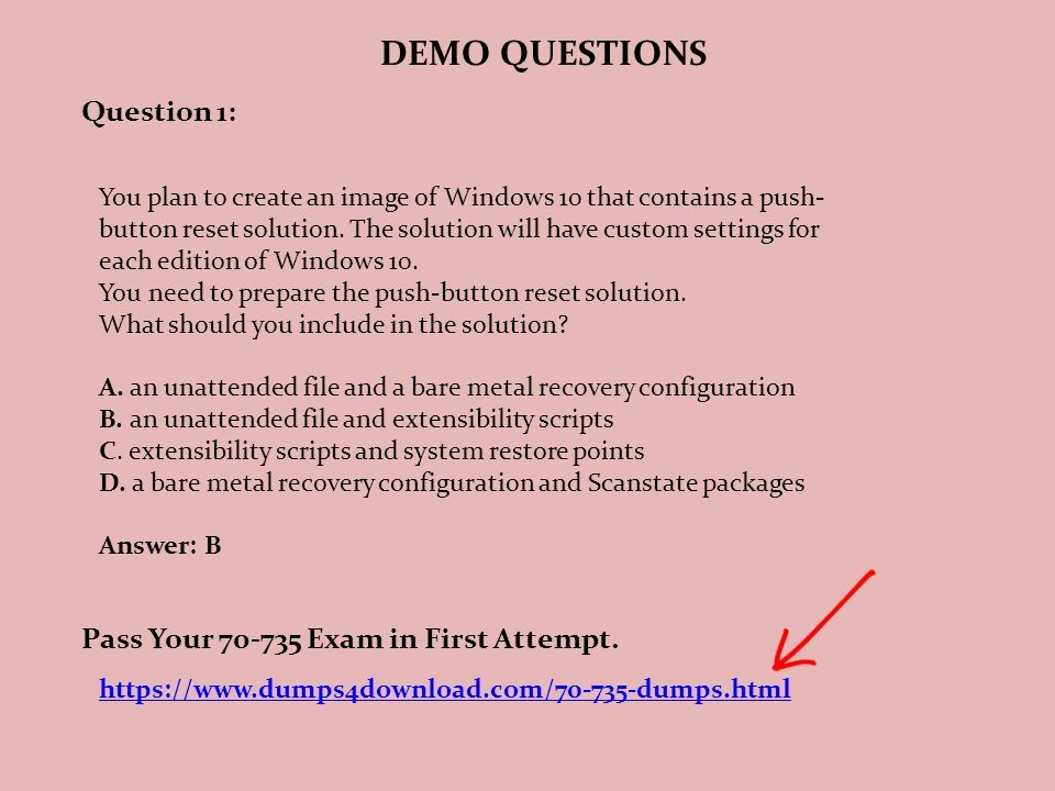 Dumps PDF OEM Manufacturing and Deployment for Windows 10 Exam Code