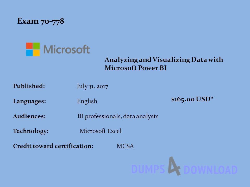 Dumps Pdf Analyzing And Visualizing Data With Microsoft Power Bi