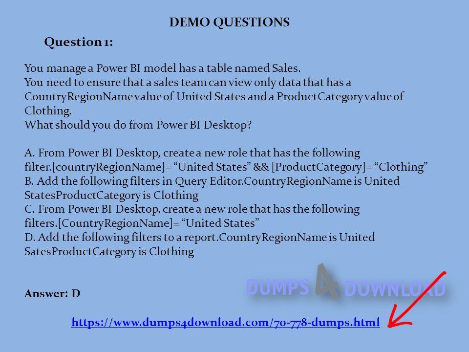 Dumps Pdf Analyzing And Visualizing Data With Microsoft Power Bi