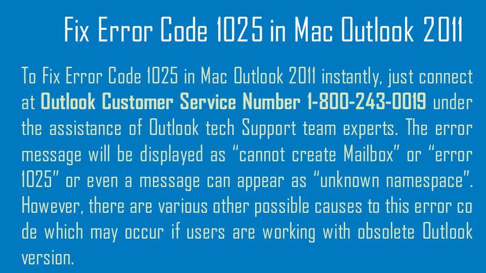 Outlook Error Mac