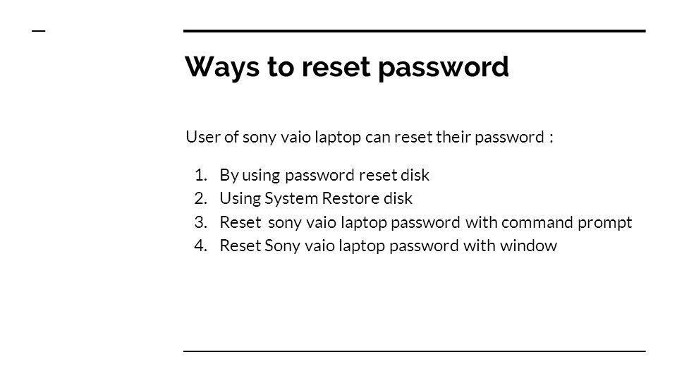 sony vaio forgot password