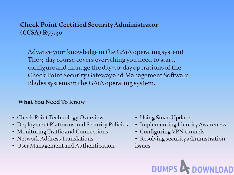 Dumps PDF Check Point Certified Security Administrator â
