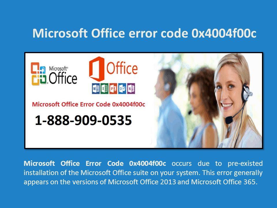 ms office error code 0x4004f00c