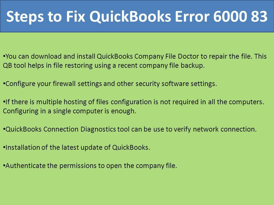 Call to Fix QuickBooks Error ppt download