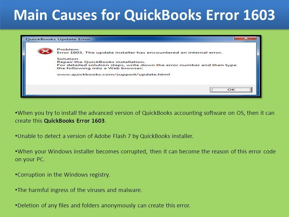 Call to Fix QuickBooks Error Code ppt download