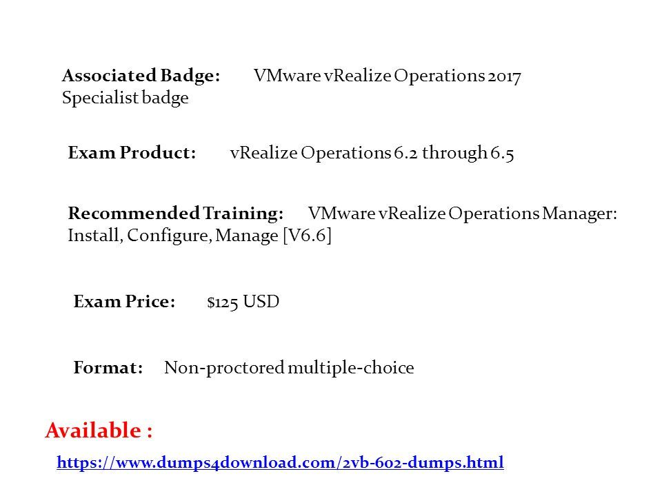 2VB-602 Dumps PDF VMware Specialist: vRealize Operations