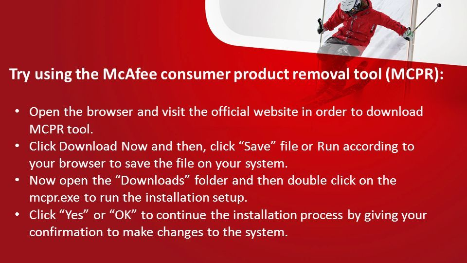 Mcafee kb how to remove mcafee products from a pc running.