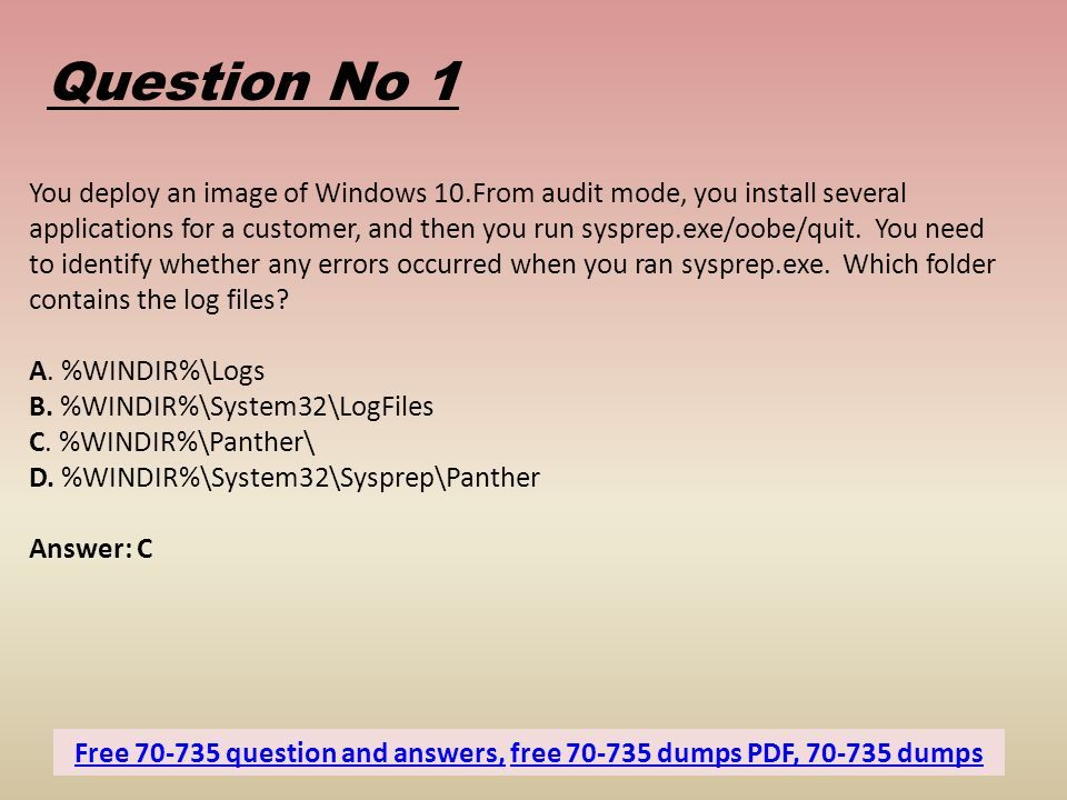 Free Microsoft Exam Sample Questions - Dumps4download in - ppt download