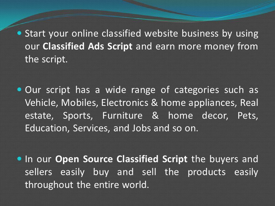 Classified Ads Script   Open Source Classified Script   Classified