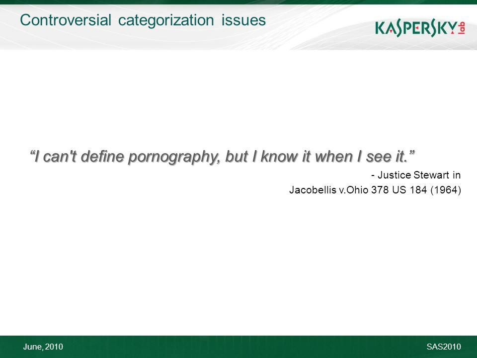 June, 2010SAS2010 I can t define pornography, but I know it when I see it. - Justice Stewart in Jacobellis v.Ohio 378 US 184 (1964) Controversial categorization issues