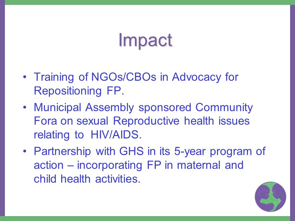 Impact Training of NGOs/CBOs in Advocacy for Repositioning FP.