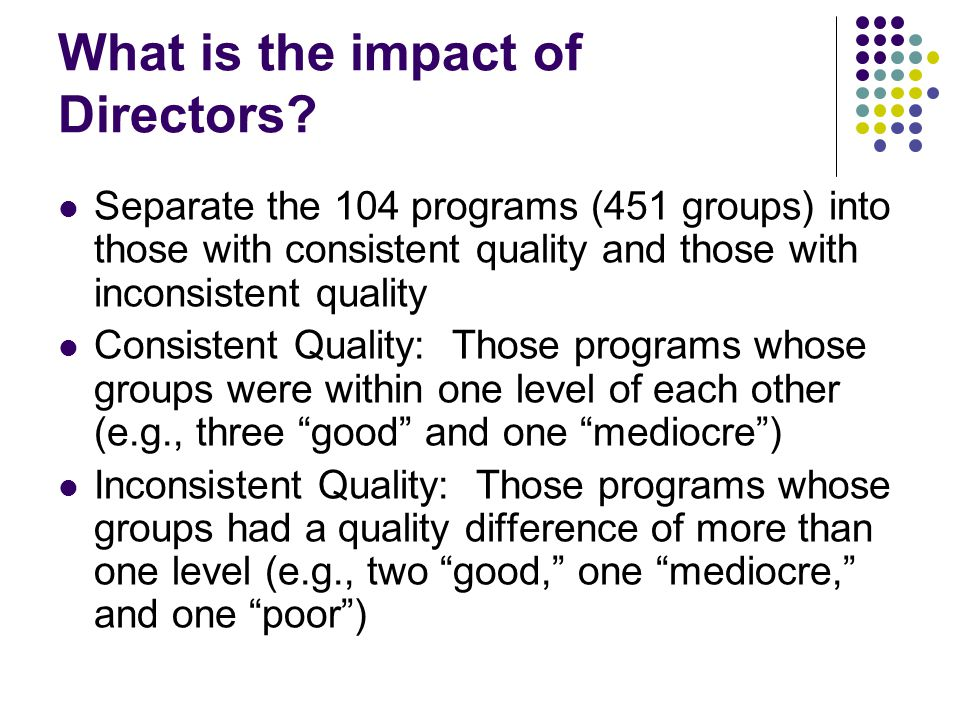 What is the impact of Directors.