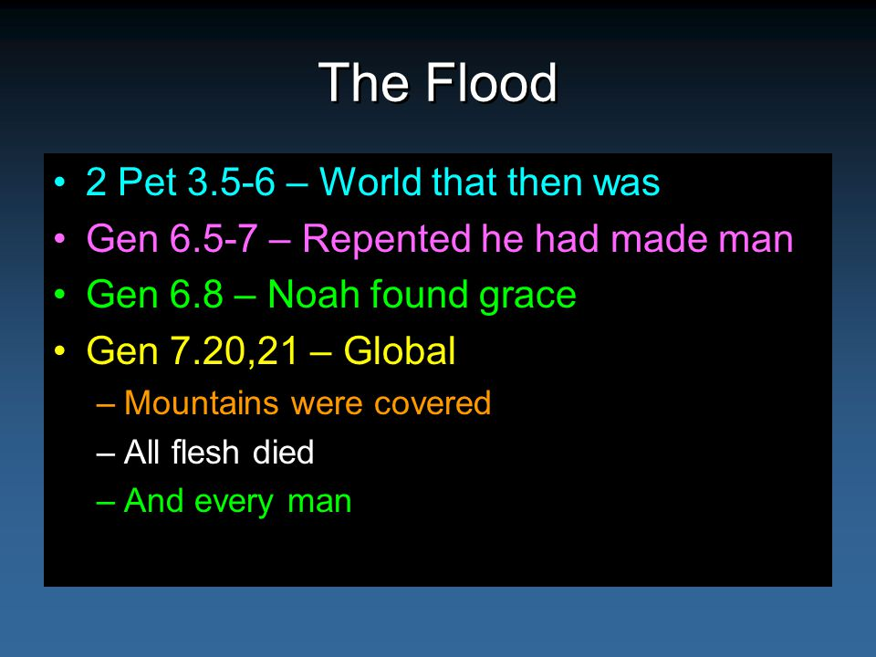 The Flood 2 Pet 3.5-6 – World that then was Gen 6.5-7 – Repented he had made man Gen 6.8 – Noah found grace Gen 7.20,21 – Global –Mountains were covered –All flesh died –And every man