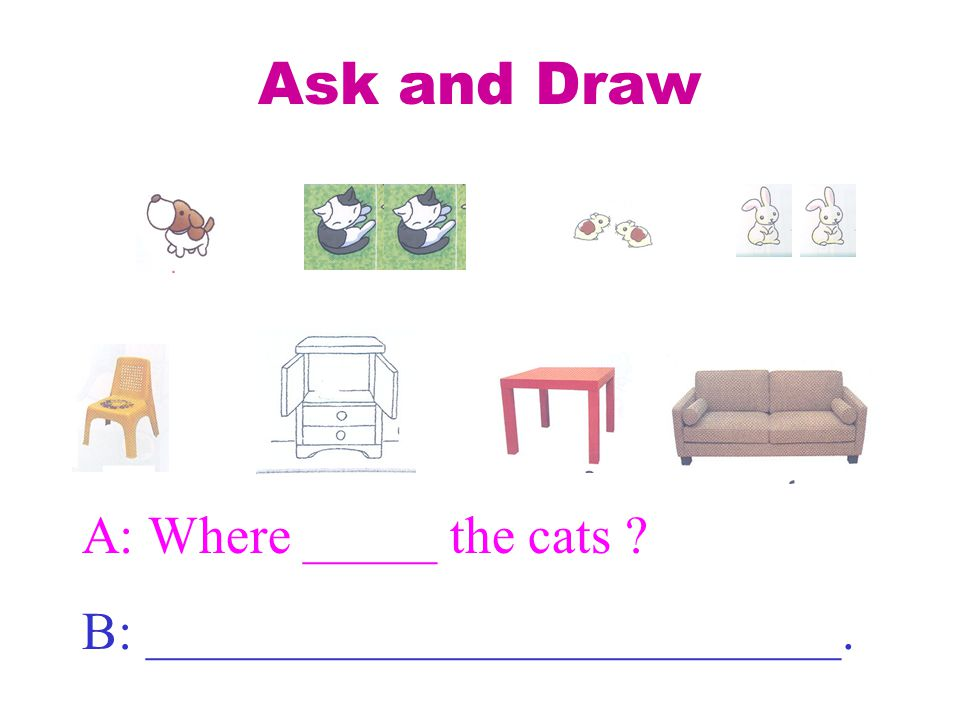 Ask and Draw A: Where _____ the cats B: __________________________.