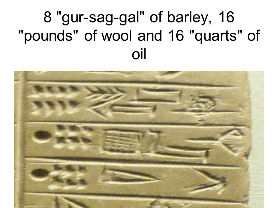8 gur-sag-gal of barley, 16 pounds of wool and 16 quarts of oil