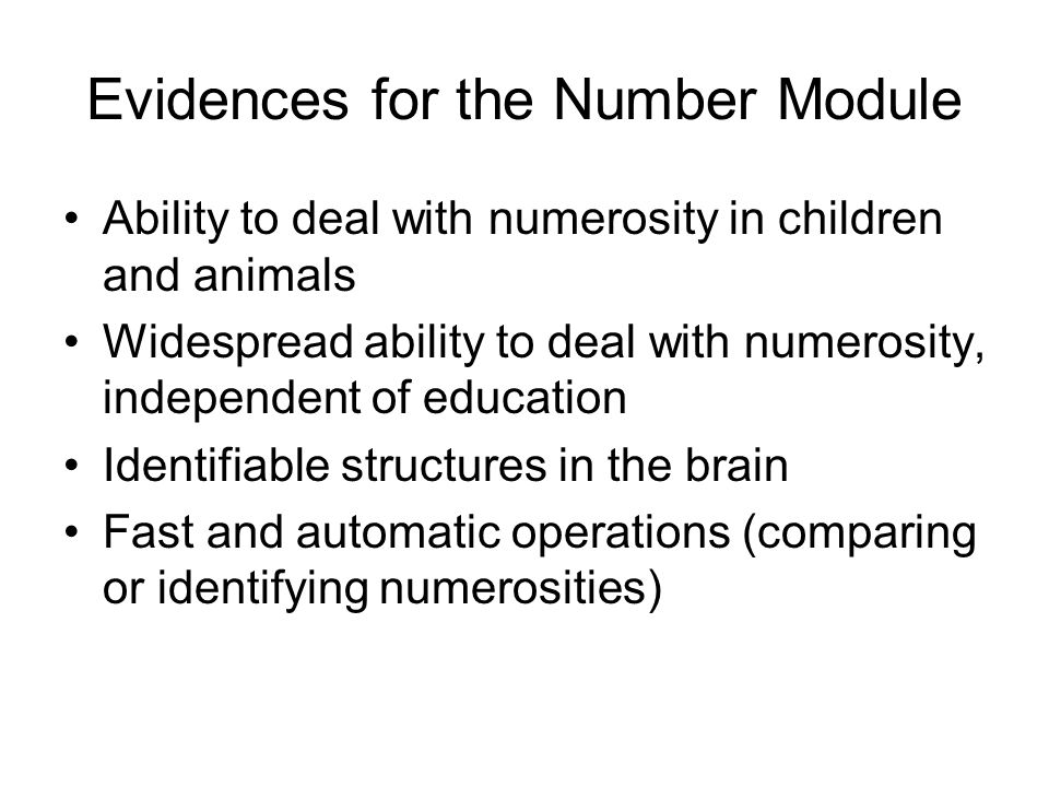 Evidences for the Number Module Ability to deal with numerosity in children and animals Widespread ability to deal with numerosity, independent of education Identifiable structures in the brain Fast and automatic operations (comparing or identifying numerosities)