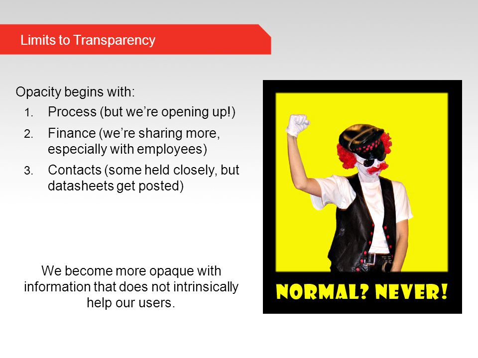 Limits to Transparency Opacity begins with: 1. Process (but we're opening up!) 2.