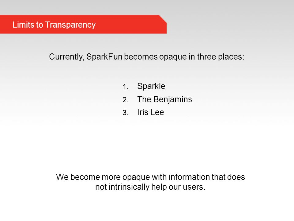 Limits to Transparency Currently, SparkFun becomes opaque in three places: 1.