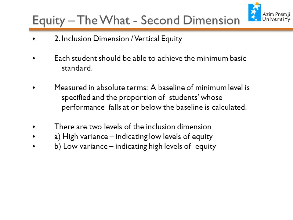 Equity – The What - Second Dimension 2.
