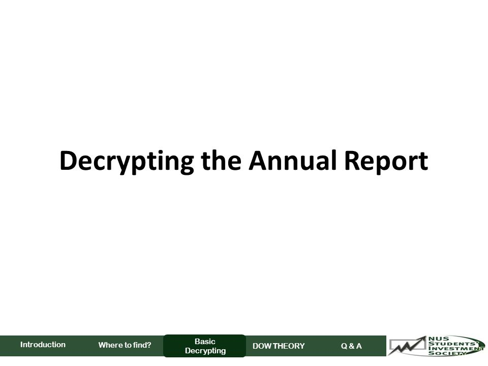 Decrypting the Annual Report Where to find Basic Decrypting DOW THEORY Q & A Introduction