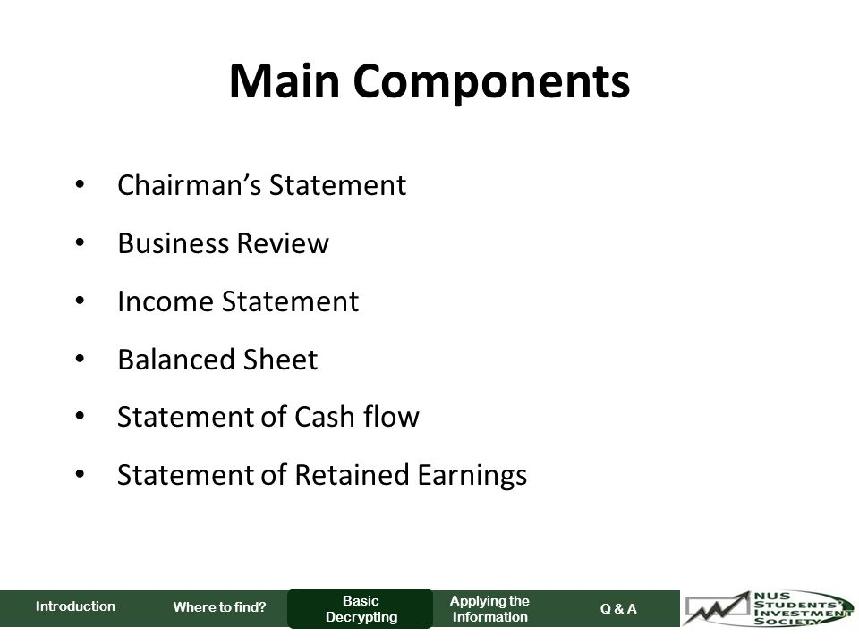 Main Components Chairman's Statement Business Review Income Statement Balanced Sheet Statement of Cash flow Statement of Retained Earnings Where to find.