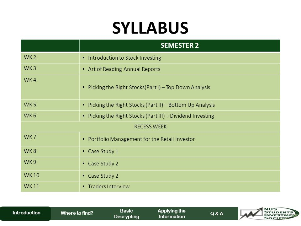 SYLLABUS Where to find.