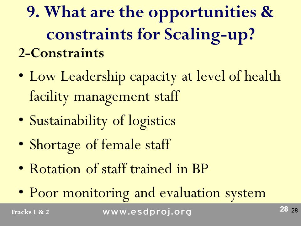 Tracks 1 & 2 28 9. What are the opportunities & constraints for Scaling-up.