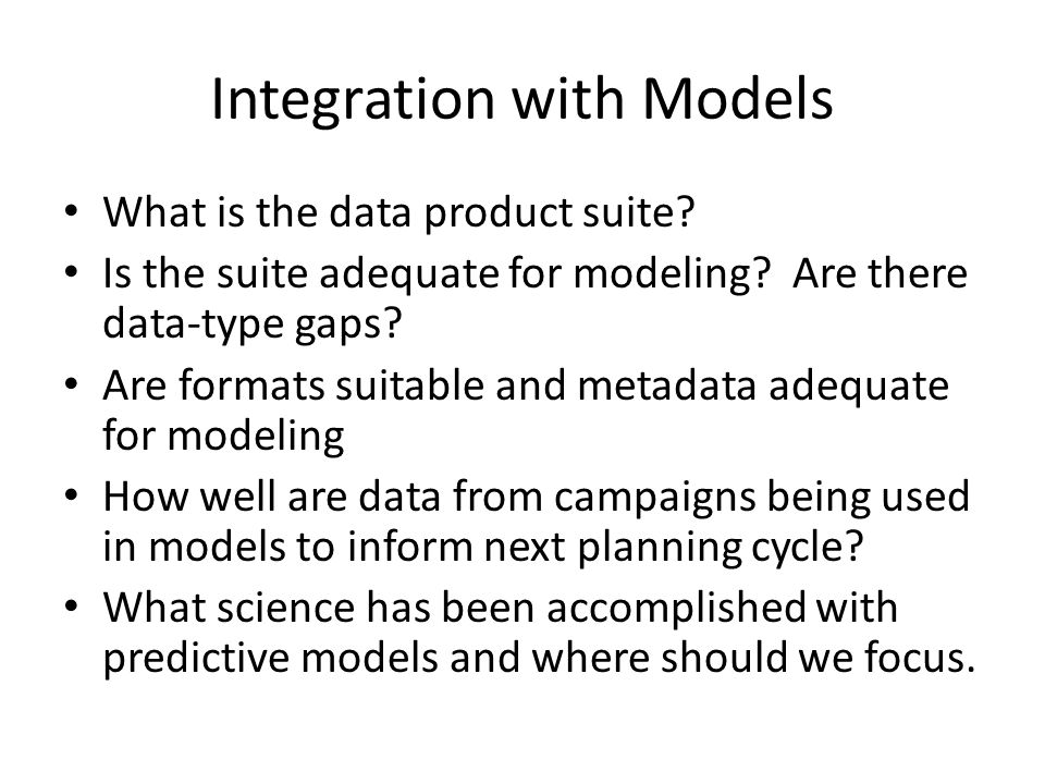 Integration with Models What is the data product suite.