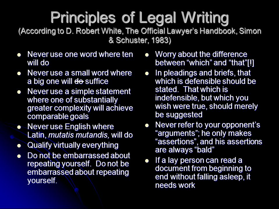 Principles of Legal Writing (According to D.