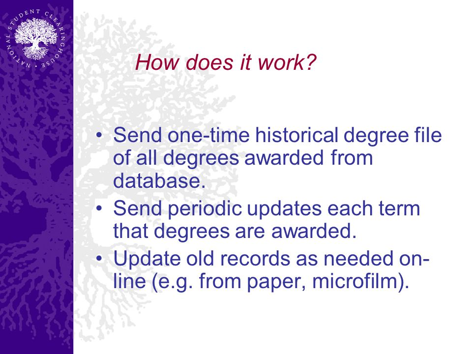 How does it work. Send one-time historical degree file of all degrees awarded from database.