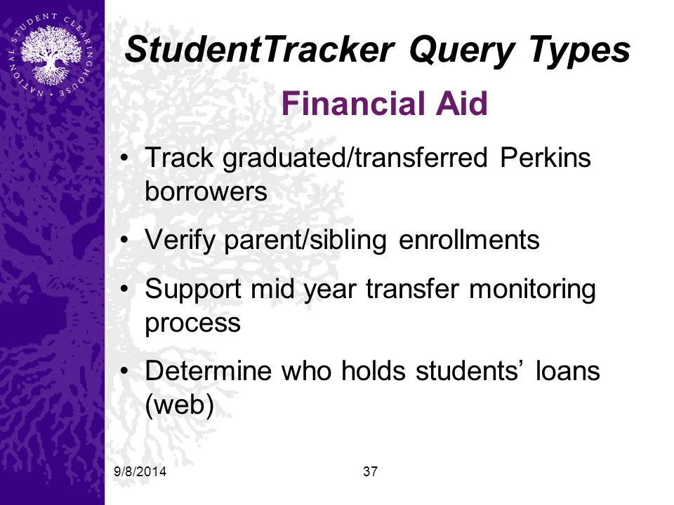 9/8/201437 StudentTracker Query Types Financial Aid Track graduated/transferred Perkins borrowers Verify parent/sibling enrollments Support mid year transfer monitoring process Determine who holds students' loans (web)