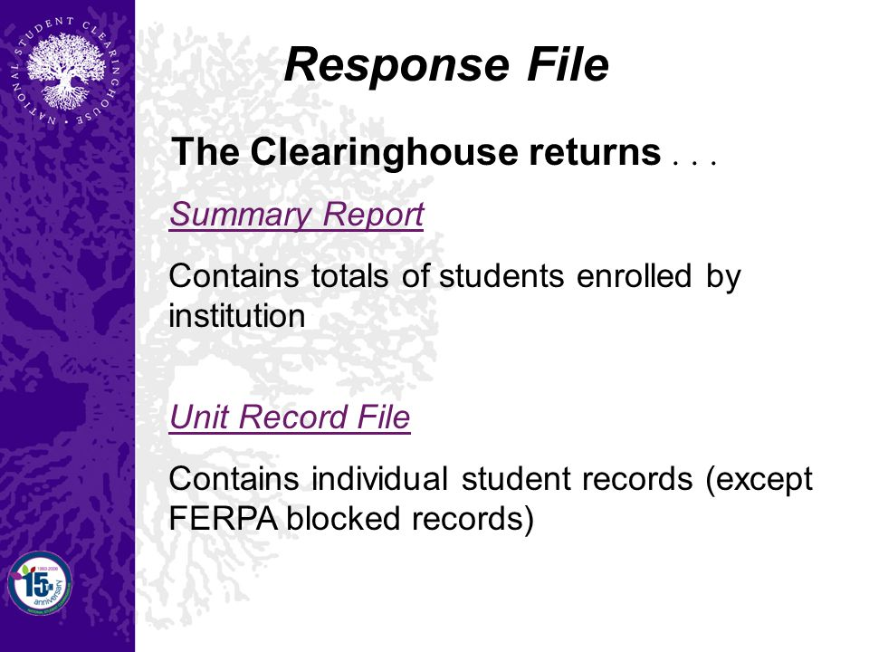 Summary Report Contains totals of students enrolled by institution Unit Record File Contains individual student records (except FERPA blocked records) Response File The Clearinghouse returns...