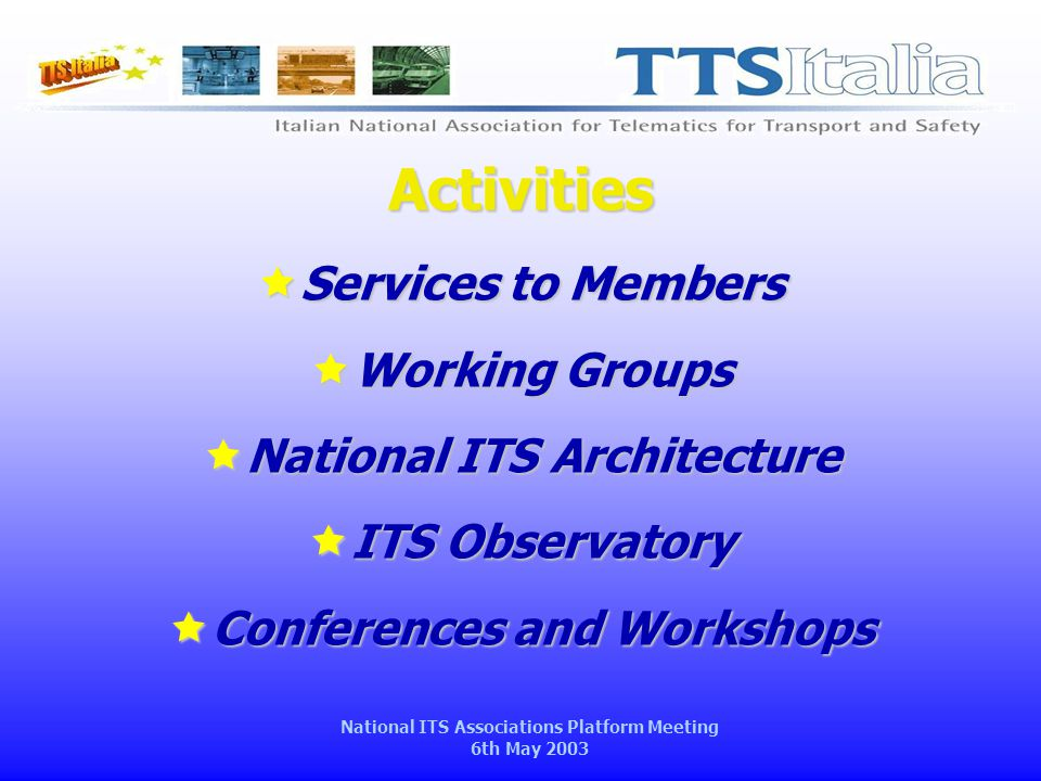 National ITS Associations Platform Meeting 6th May 2003 Activities  Services to Members  Working Groups  National ITS Architecture  ITS Observatory  Conferences and Workshops