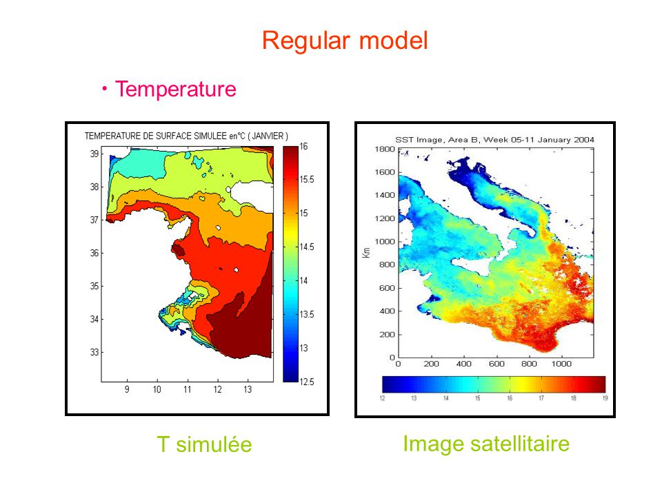 Temperature T simulée Image satellitaire Regular model
