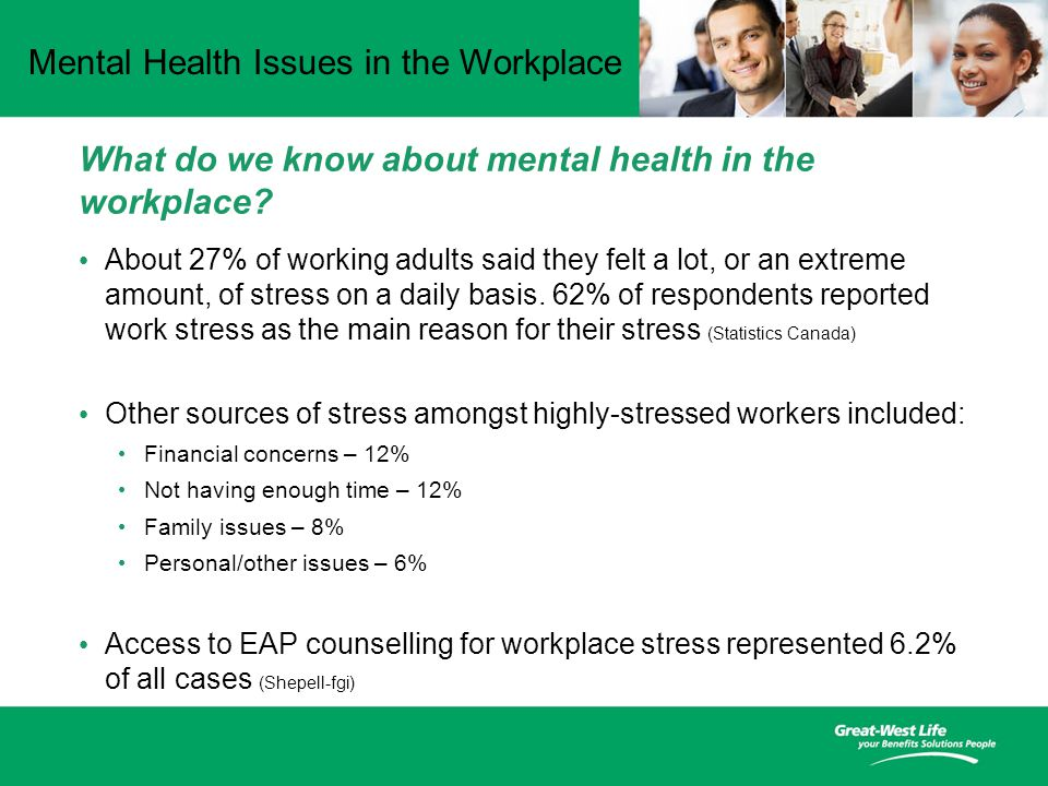 Mental Health Issues in the Workplace What do we know about mental health in the workplace.