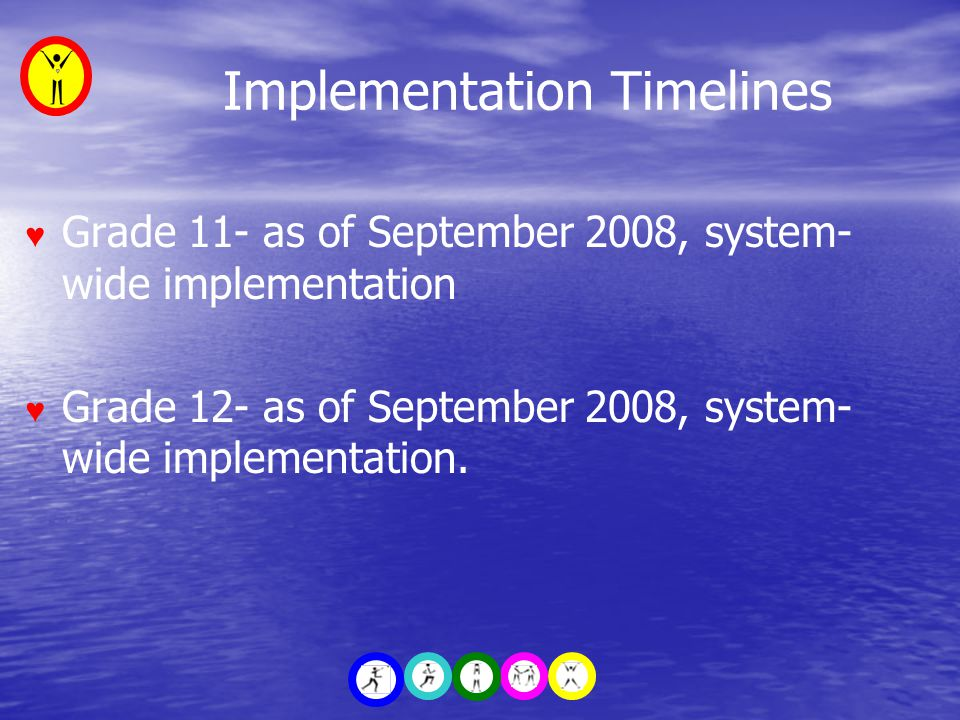 Implementation Timelines ♥ Grade 11- as of September 2008, system- wide implementation ♥ Grade 12- as of September 2008, system- wide implementation.